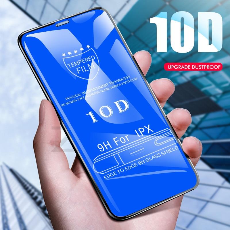 10D Trempé Verre sur le Pour iPhone X 7 8 6 Plus Écran Protecteur Pleine Couverture De Protection En Verre Pour iPhone 6 6 s 7 XR XS Max film
