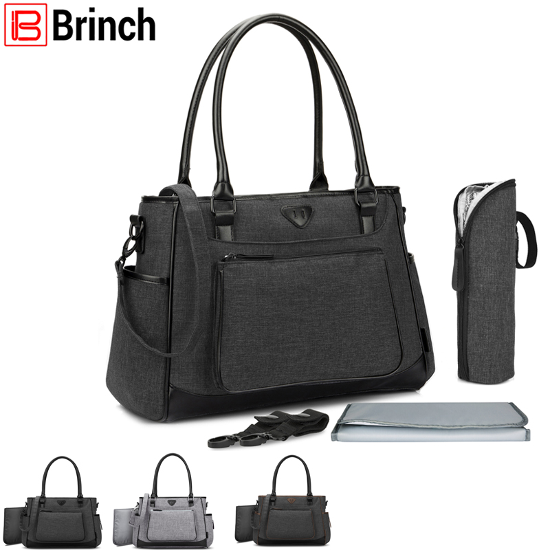 BRINCH Brand Fashion Baby Nappy Bag Large Capacity Mom Tote Handbag Lightweight Diaper Baby Stroller Bag With Changing Pad