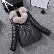2017 New women winter jacket warm down feather True fox fur collars female coat sheepskin leather parket plus size PC002