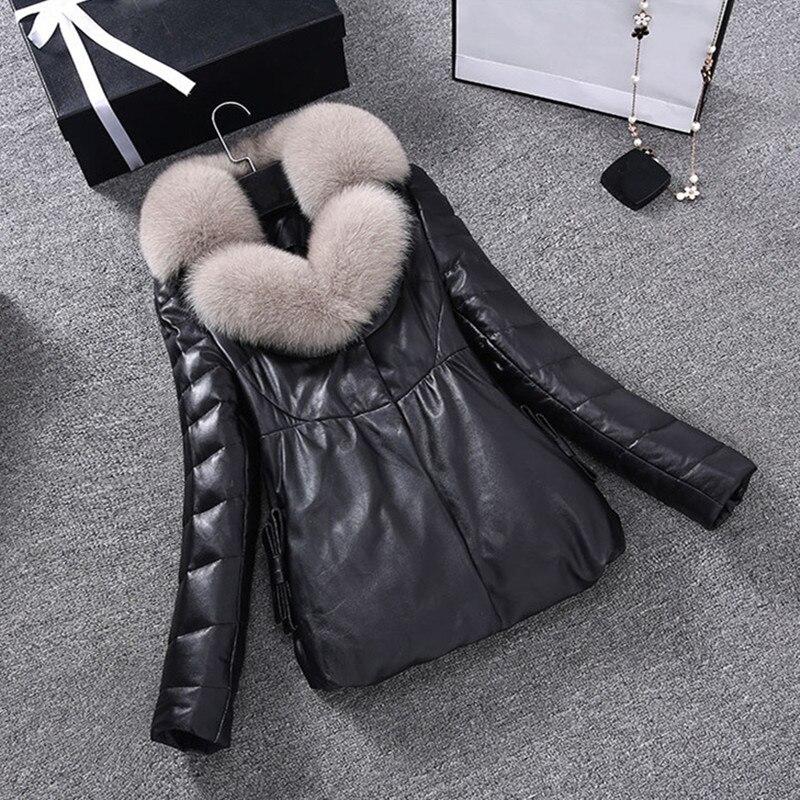 Fourrure gray Taille Parket En Cuir Col Renard Véritable black Femme Red Peau Femmes Mouton Manteau Nouvelles Pc002 Chaud D'hiver Plume Veste De 2017 Grande gHfvxpwqT