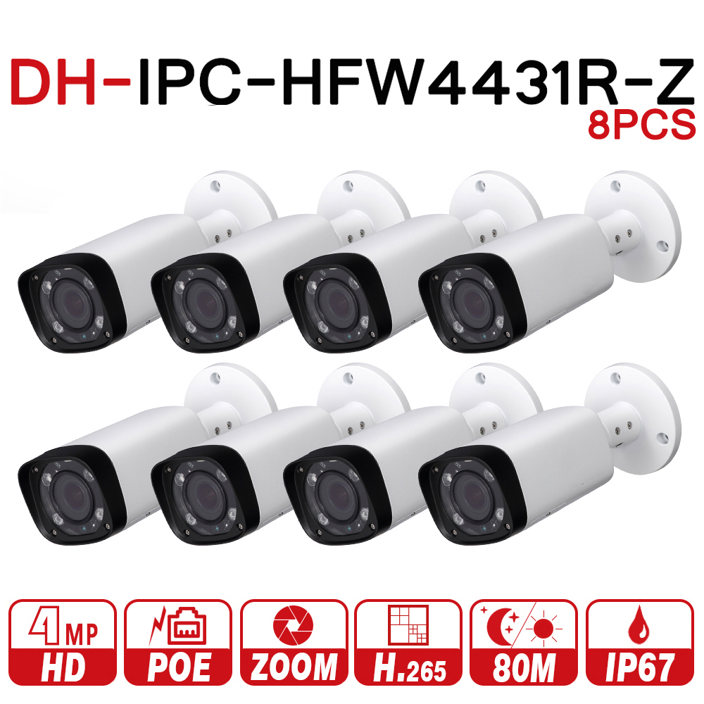 DH IPC-HFW4431R-Z 8pcs/lot 8mp Network IP Camera 2.7-12mm VF Lens Auto Focus 80m IR Bullet Security POE For CCTV System 15pcs lot free dhl shipping dahua 3 0mp 2 7mm 12mm motorized network ir bullet camera security ir water proof ipc hfw2300r z
