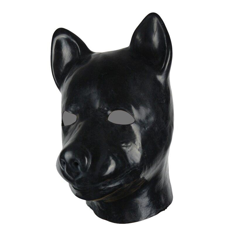 Buy 3D mould fetish unisex latex dog mask hood rubber fetish aninal mask back zipper dog slave hood
