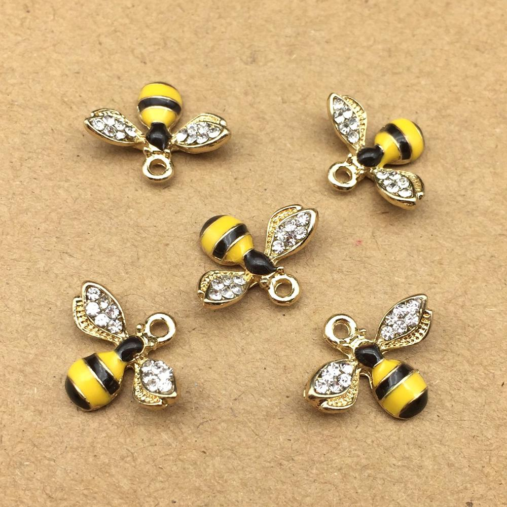 10pcs 14x18mm enamel bee charm for jewelry making cute earring pendant bracelet necklace charms diy design charms(China)