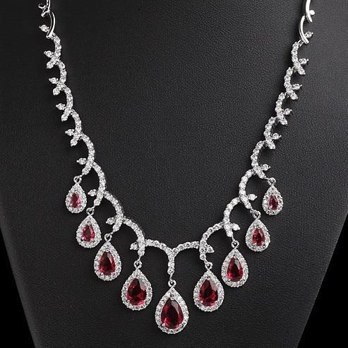 Bridal Luxury Wedding Jewelry Red/Emerald/Royal Blue/Clear AAA Cubic Zirconia Necklaces For Women CZ Diamonds Bijoux TMX45