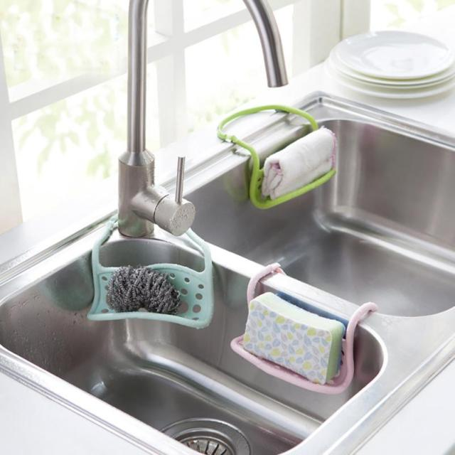 New Hanging Bathroom Kitchen Sink Corner Storage Rack Sponge Holder Utensil Box  Hot Silicone Soap Dish