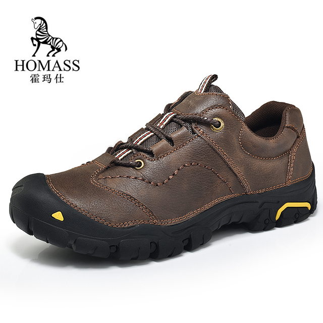 99fcd1b6c37 US $35.98 41% OFF|Homass Genuine Leather Hiking Boots Anti skid Sneakers  for Men Outdoor Mens Hiking Shoes Waterproof Trekking Trainer Shoes-in  Hiking ...