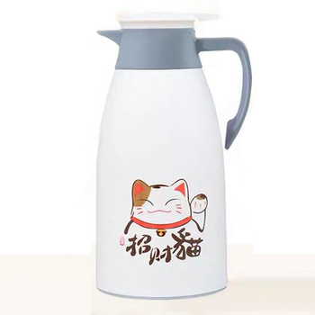 Cartoon Cat Printed Double Wall Thermal Jug and Vacuum Glass for Storage of hot Water and Milk