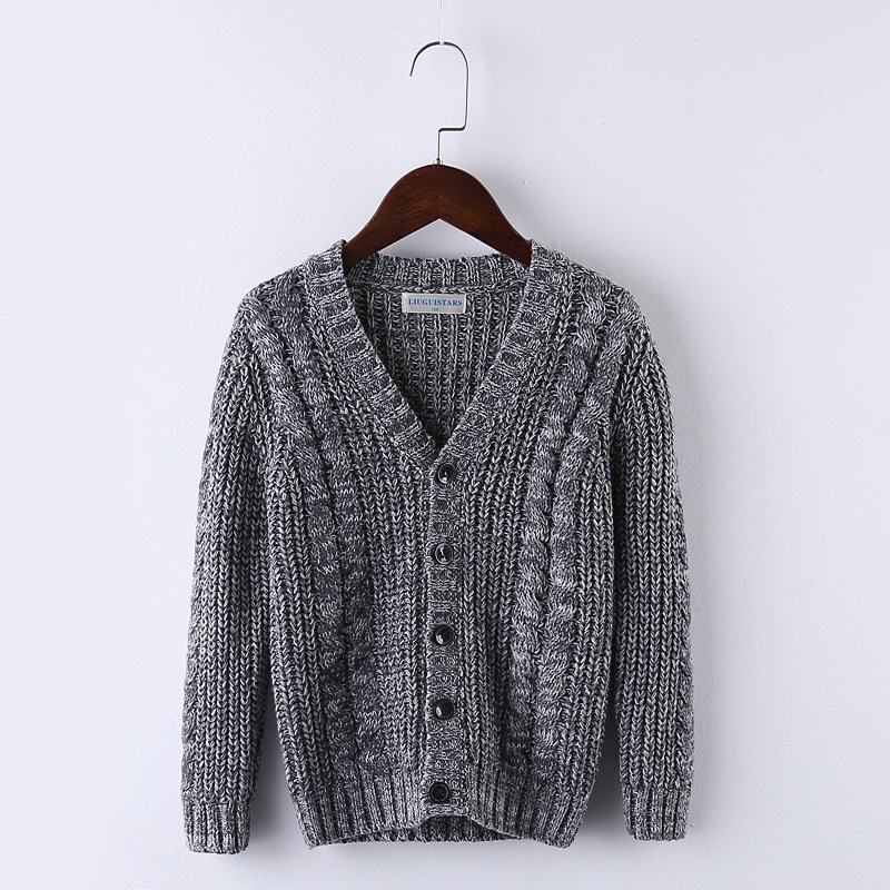 Autumn Winter Children Clothing Boys Cotton V-Neck Knitted cardigan coat Sweater Soft Warm Sueter Children's clothing mens v neck button up cardigan
