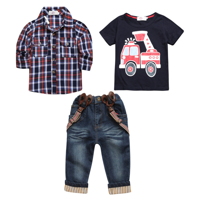 2018 sets of clothes for spring suit boy's long sleeve plaid shirt + jeans + Vehicle Printing 3 pcs set  BCS203