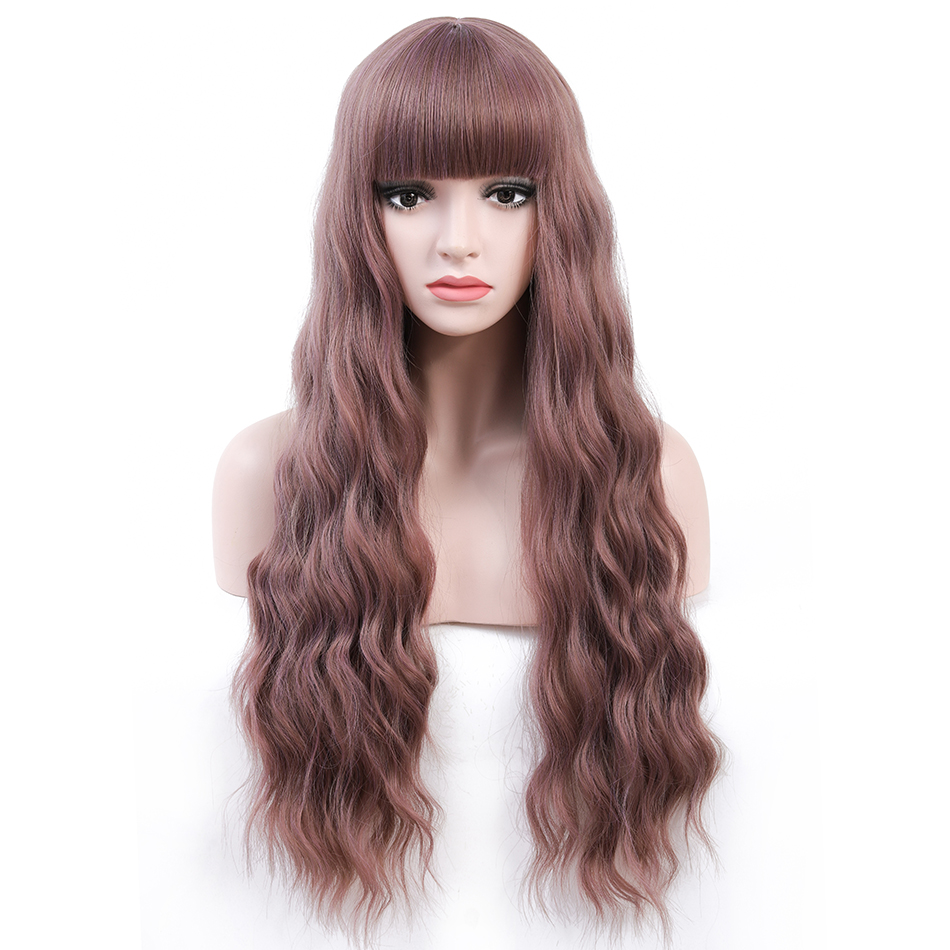 Rosa Star Long Wavy Wigs With Bangs For Women Synthetic Heat Resistant Cosplay Costume Colorful Wig 7 Color(China)