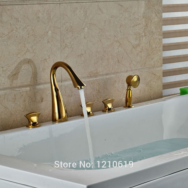 Aliexpress.com : Buy Newly Gold Plate 5Pcs Bathtub Faucet Basin ...