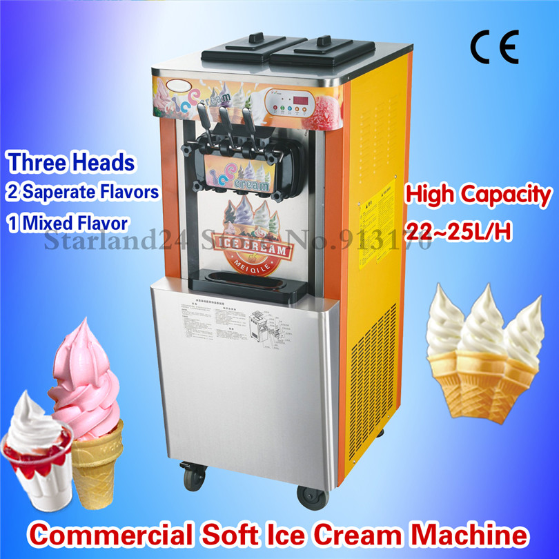 Upright Type Ice Cream Machine Commercial Ice Cream Maker for Soft Serve Sundae Stores 22~25L/H 220V CE Approval купить