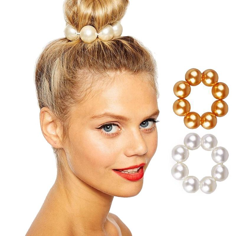 Headwear Big Imitation Pearl Hair Rope Holder Hairband for Women Girls Hair Ring Pearl Beads Crown Stretch Hair Band Accessories