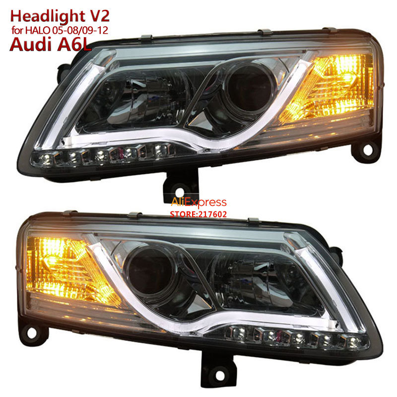 for Audi A6 A6L Projector Headlights 2005-2008 2009-2012 with Tube light V2 for Original Halogen Ensure High Quality & Fitment