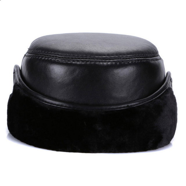 2018 New Brand Men Genuine Real Sheepskin Leather Baseball Caps Male Winter Real Sheepskin Leather Hats Ears Protect Leather Cap