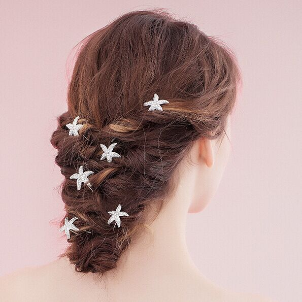 12pcs Lot Rhinestone Sea Star Hairpins Starfish Hair Pins Crystal Clips For Jewelry Wedding