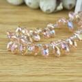 100pcs 6x12mm Pink AB Color Briolette Pendants Waterdrop Crystal Glass Jewelry Loose Teardrop Beads DIY