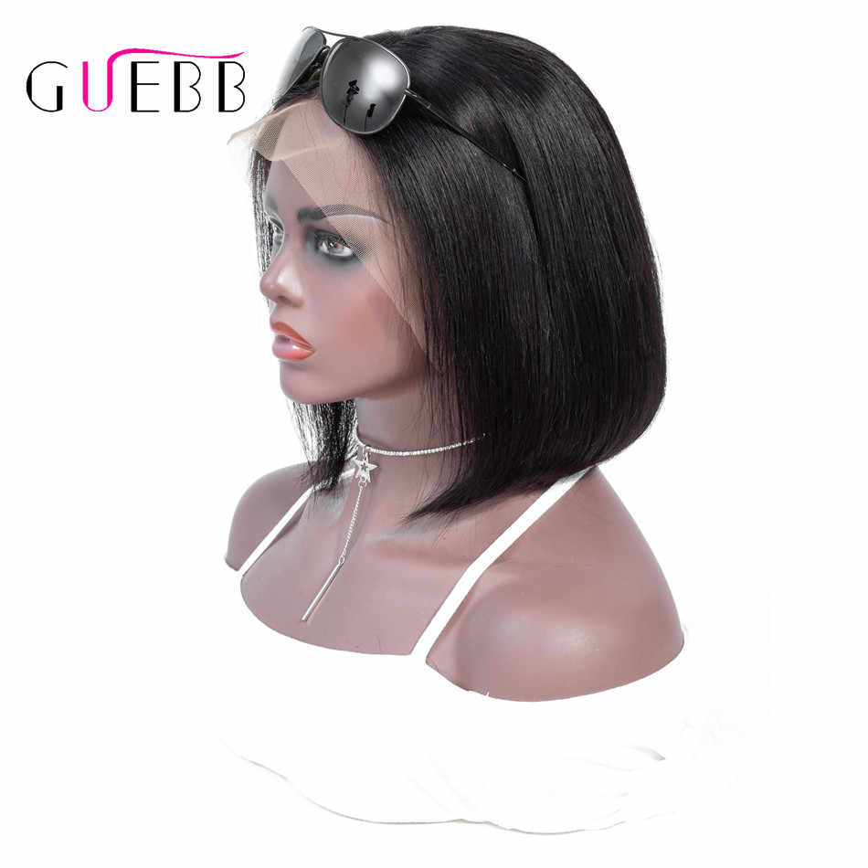 GUEBB Short Bob Wigs Peruvian 100% Remy Hair Can Be Dyed Lace Front Human Hair Wigs Pre-Plucked Bleached Knots For Woman