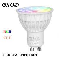 BSOD Gu10 LED Spotlight Bulb Milight Lampa FUT103 AC86-265V 2.4G Bezprzewodowego Ściemniania WTC Zdalnego Kontrolera RGBW Światła Led Smart