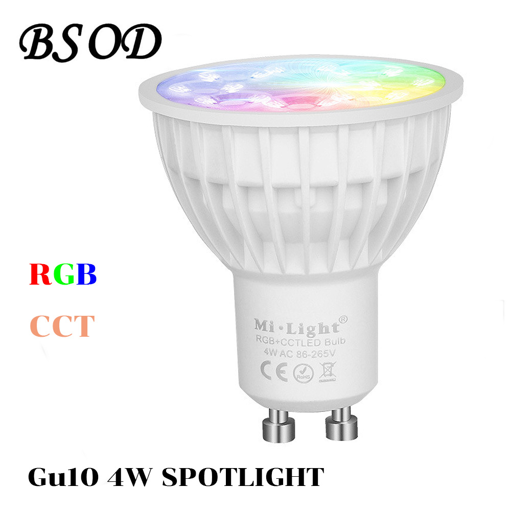 BSOD Gu10 LED Spotlight Milight Bulb Lamp FUT103 RGBW CCT AC86-265V 2.4G Wireless Dimmable Remote Controller Smart Led Light milight 5w gu10 dual color temperature led bulb spotlight without remote