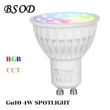 BSOD  Gu10 LED Spotlight Milight Bulb Lamp FUT 103 RGB+CCT AC86-265V 2.4G Wireless Dimmable Remote Controller