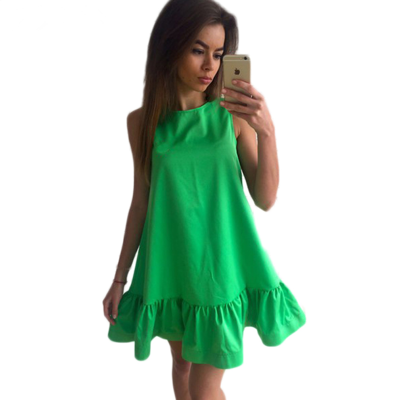 Summer Dress 2017 Sexy Ruffles Women Casual Sleeveless Dress Bodycon Cocktail Short Mini Tube Beach Party Dress