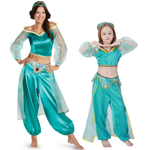 Fairy Tale Storybook Aladdin Lamp Costume Adult Women Girl Princess Jasmine Cosplay Fantasia Fancy Dress