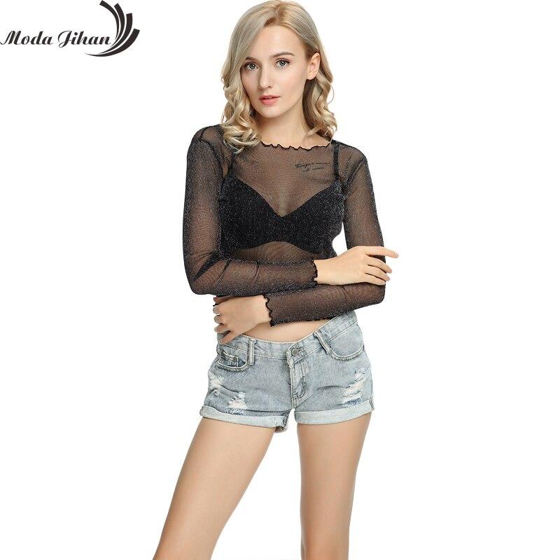 Moda Jihan New Women T-Shirts Perspective Mesh Glitter Crop Tops Ruffled Trimmings 3/4 Sleeve Tops Tees Rene Glitter Tops & Tees