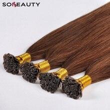 Sobeauty длинные шелковистые прямые человеческие волосы на заколках для наращивания, волосы с плоским кончиком на заказ, размер и цвет