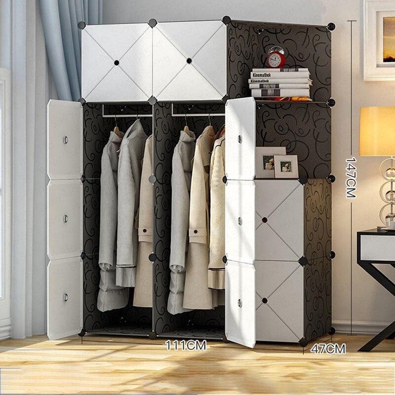 Armoire Simple assemblage tissu en plastique placard espace Imitation panneau en bois massif Simple moderne armoire économique chambre meubles