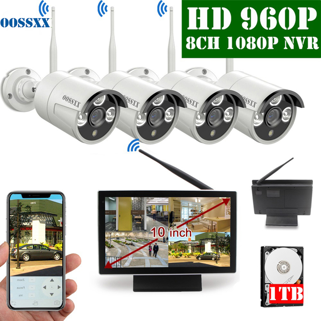OOSSXX 8CH 1080P Wireless NVR Kit 10 Monitor Senza Fili del CCTV 4pcs 960P Indoor Macchina Fotografica Esterna del IP video Sistema di Sorveglianza