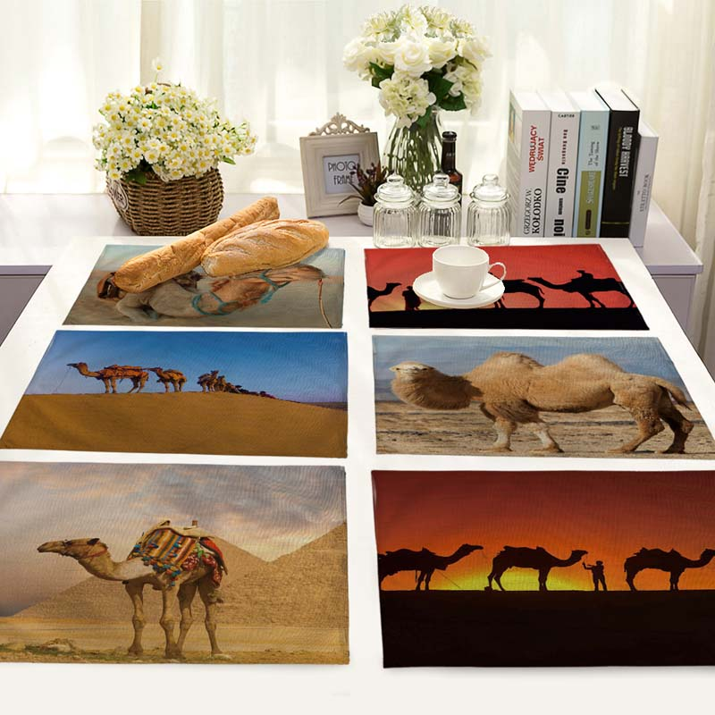 Desert Camel Pattern Table Mat Animal Table Napkins Camel Placemat Kitchen Decoration Dining Accessories 42*32cm MA0101