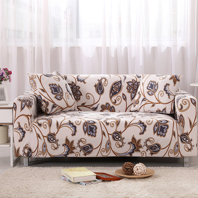 Lovely European Floral Universal Stretch Single Double Sectional Sofa Cover  Leather Sofa Cushion Slip Blue Country Pastoral