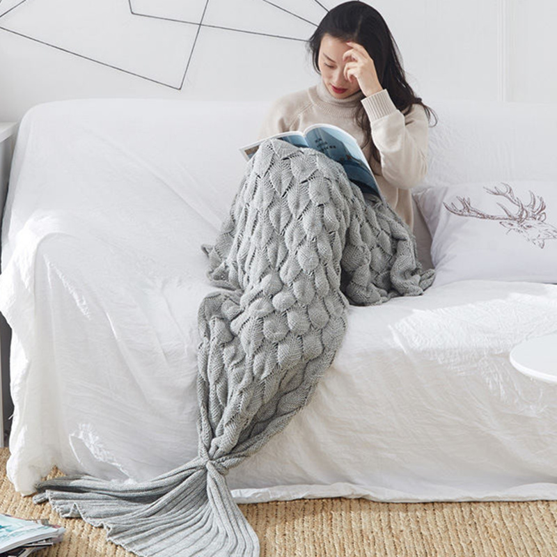 Бесплатная доставка Высокое качество 100% хлопок вязать одеяло Русалка одеяло зеленый, серый, Orange, фиолетовый, розовый, синий