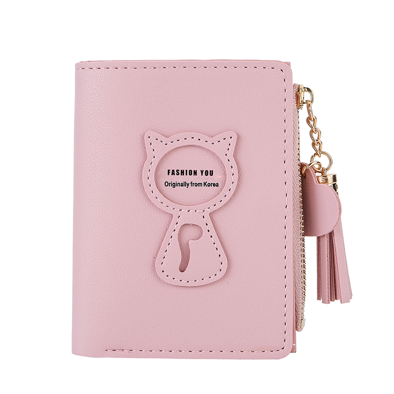 Women's Short Wallet Korean Version Of The Sleek Minimalist Student Wallet Cat Mini New Tassel Zipper Small Wallet 20% Off