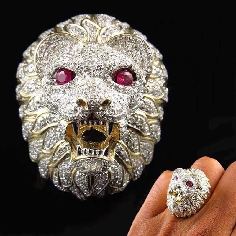 Punk Domineering Lion Head Ring Gothic Iced Out Bling Golden Finger Ring Men Jewelry Anillo Hombre Hip Hop Mens Rings C3M076