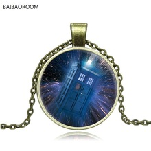 Trade jewelry factory direct doctor who calls police box time glass necklace