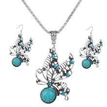 Fashion Turquoise Drop Dangle Jewelry Set Retro Crystal Silver Plated Butterfly Earrings, Pendant Necklace for Woman