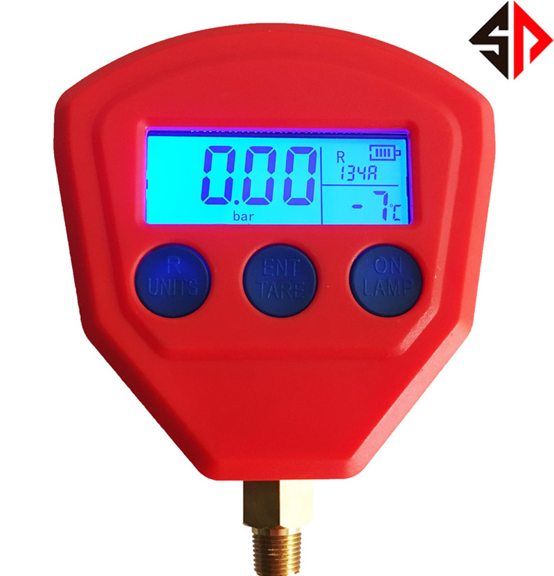 SP R22 R410 R407C R404A R134A Air Conditioner Refrigeration Single Manifold vacuum gauge Pressure Gauge air conditioner part 3 way valve 1 4npt thread single manifold gauge 220psi