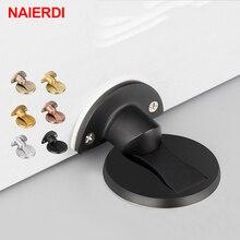 NAIERDI Magnet Door Stops 304 Stainless Steel Stopper Magnetic Hidden Holders Catch Floor For Toilet Furniture Hardware