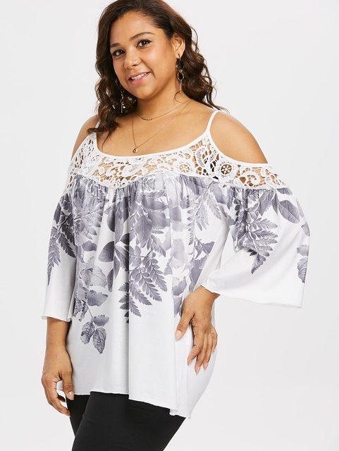 Plus Size Cutwork Lace Trim Cold Shoulder Top Women Dew Shoulder Leaf Print  Cutwork Lace Insert ef1d5f6128c3