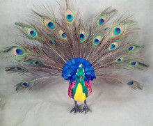 large 42x50cm beautiful peacock model ,polyethylene&furs handicraft Figurines&Miniatures home decoration toy gift a2903