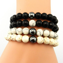 New Men and Women's Bracelet, 8mm Natural Matte stone with White Howlite Stone Beads Bangles