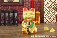 16 inch Gold shake hands to attract money cat ornaments opened 16 inch extra large ceramic lucky Piggy bank bstatue home wedding