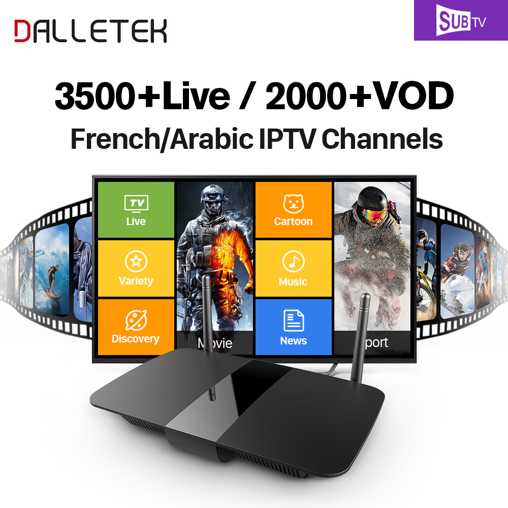 Dalletektv RK3229 Android 6.0 TV BOX Smart Support H.265 4K 60tps 2.4GHz WiFi SUBTV IPTV Subscription French Arabic IPTV Box dalletektv leadcool android smart tv box cortex a7 quad core 1g 8g h 265 with iptv europe uk french italy channel subscription