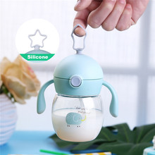 280ml Toddler Infant Kids Baby Feeding Bottle Cute Cartoon Print Healthy Safe Tritan taza Water With Lids Free Gift