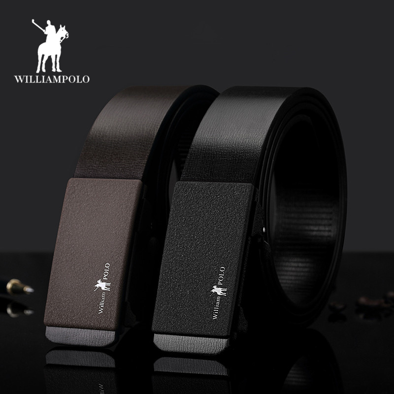 WilliamPolo Men   Belts   Genuine Leather Designer Automatic Buckle Business   Belts   For Male Fashion Luxury Brand   Belt   PL17128P