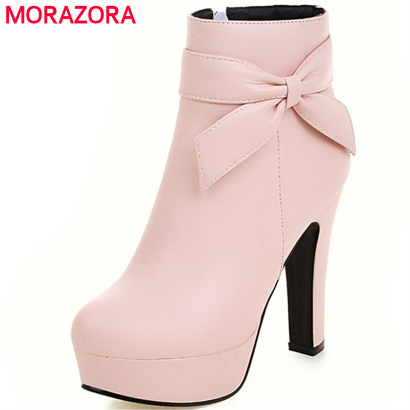 MORAZORA Bowtie PU leather platform shoes woman ankle boots party zip solid womens boots in spring