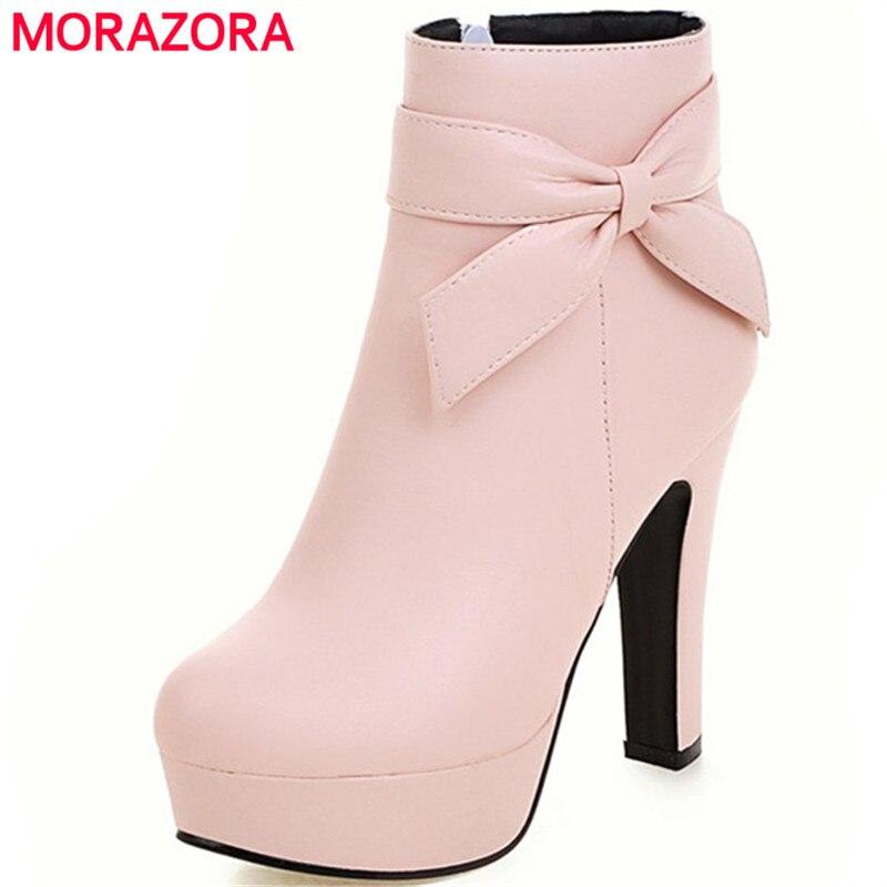 De Primavera Cremallera Fiesta rosado Sólidas negro Zapatos Bowtie Para  Botines Cuero Pu Otoño blanco Beige Con En Morazora Botas Mujer Moda ... 145e8d237fcac