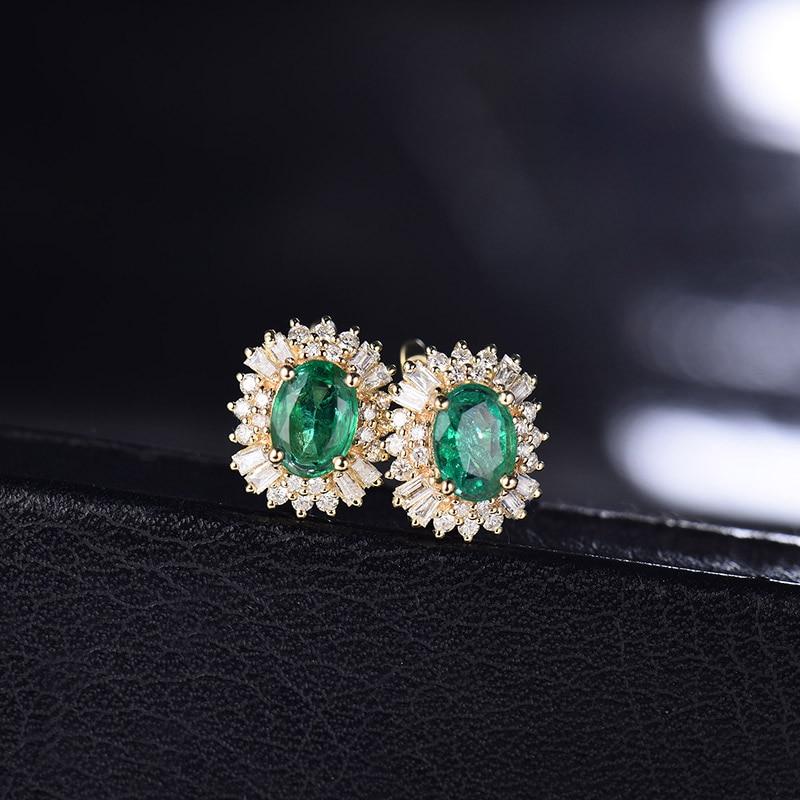 LOVERJEWELRY Fashion Emerald Earrings For Women Real 18k Yellow Gold 1.48ct Natural Emerald Gemstone Diamonds Lady Earrings Gift